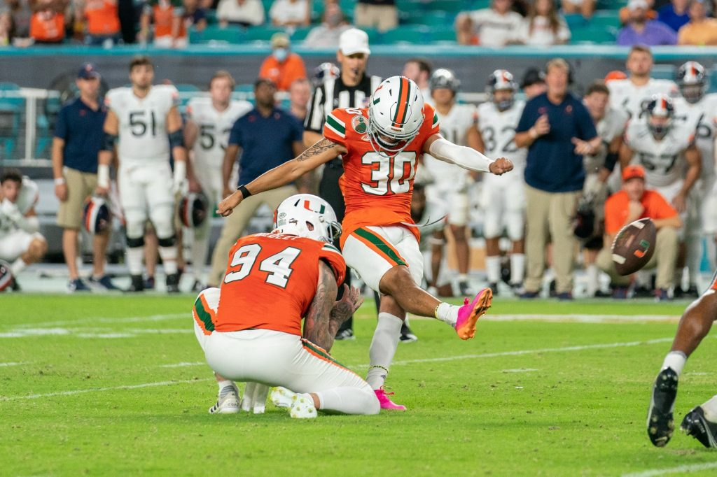 Freshman kicker Andres Borregales kicks a field goal attempt in the final seconds of the fourth quarter of Miami's game versus the University of Virginia at Hard Rock Stadium on Sept. 30, 2021. Borregales missed the kick, and Miami lost 28-30.
