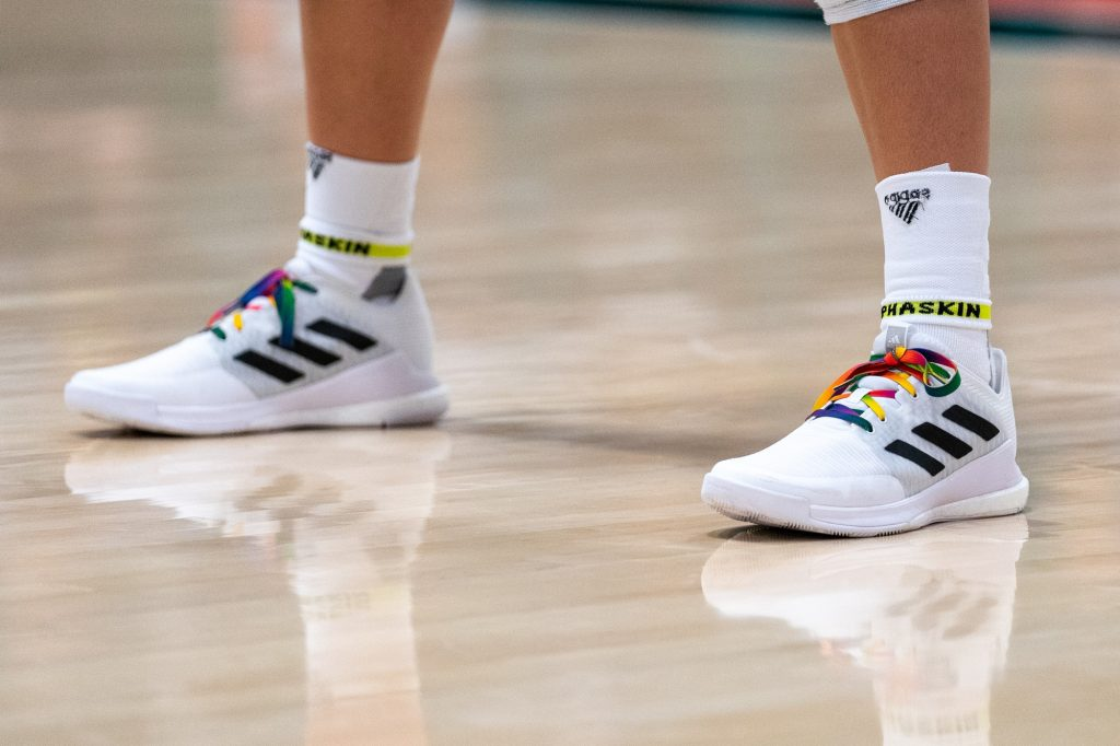 Some Miami volleyball players laced up their shoes with pride-themed laces, in honor of their pride night match versus the University of North Carolina in the Knight Sports Complex on Oct. 1, 2021.