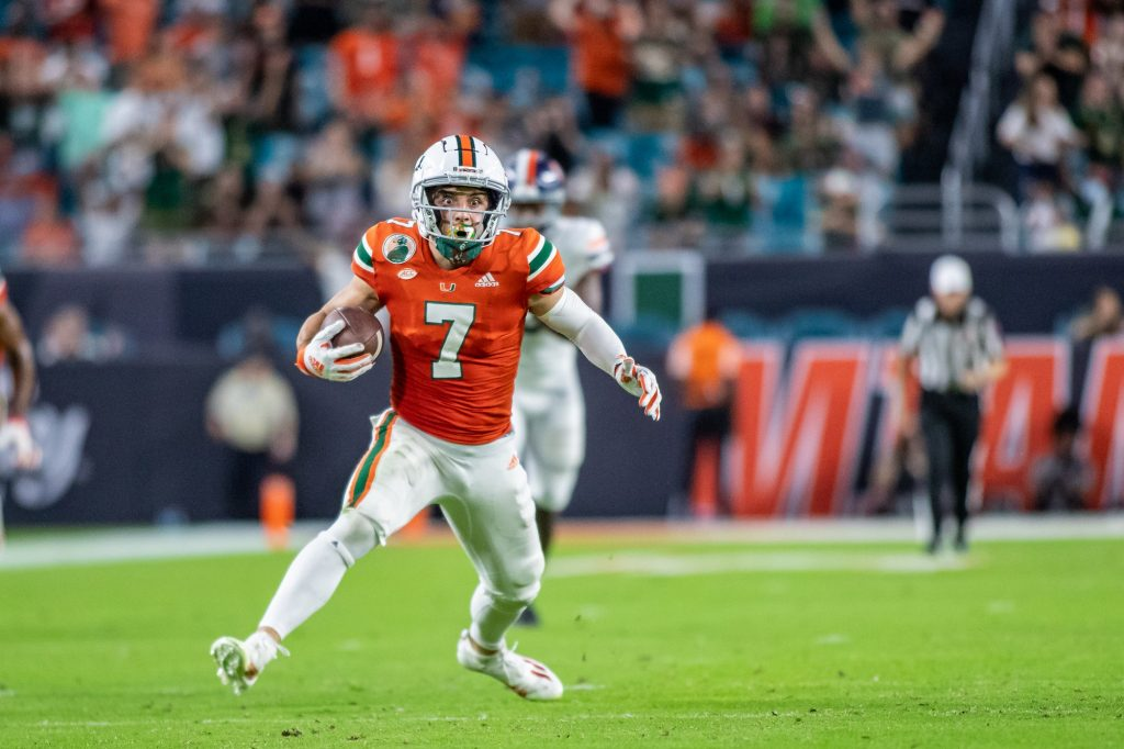 Freshman wide receiver Xavier Restrepo makes a move while running down the field during the second half of Miami's loss to Virginia on Thursday Sept. 30 at Hard Rock Stadium