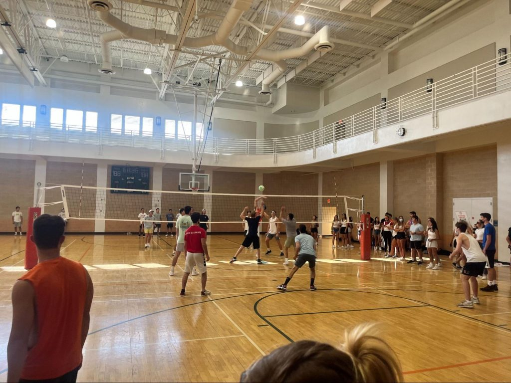 Alpha Epsilon Pi and Tau Kappa Epsilon compete against each other on Sept. 29, 2021. Fraternities paid entry fees to compete in a volleyball tournament with proceeds benefitting the Ronald McDonald House.