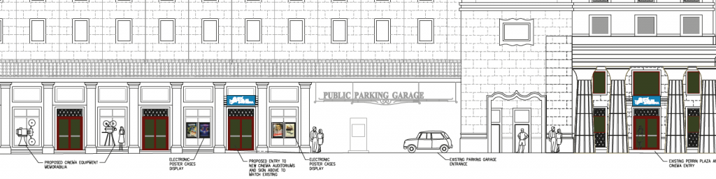 A rendered view of the new location and a drawing of the building featuring the cinema's current space (right) and the expansion (left).