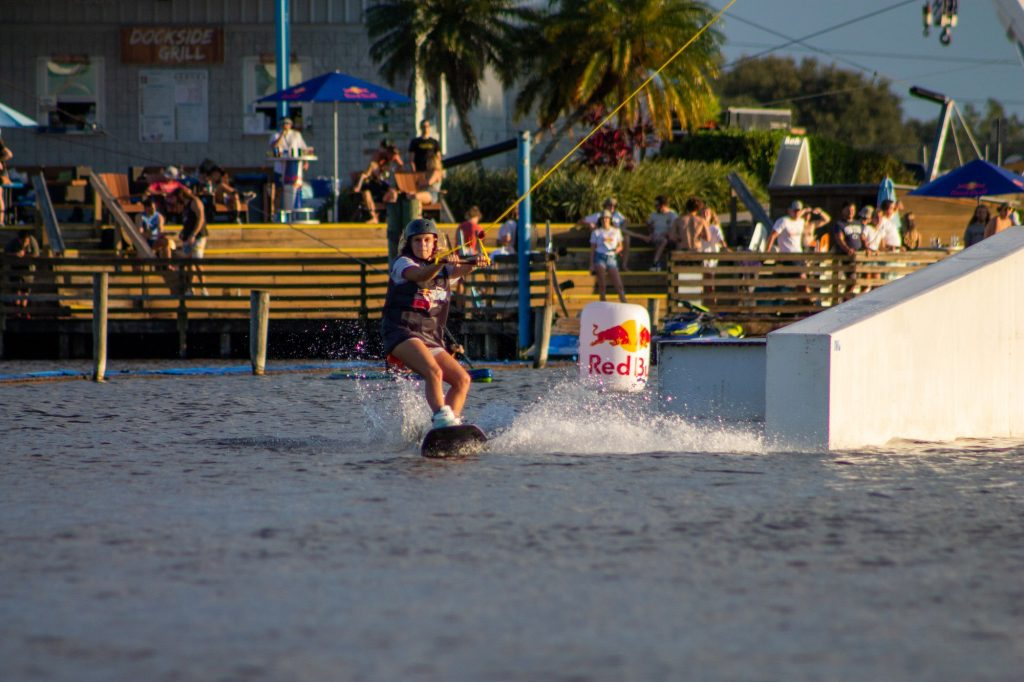 Freshman KT Palmer riding in the Rail Jam Competition at Orlando Watersport's Complex.