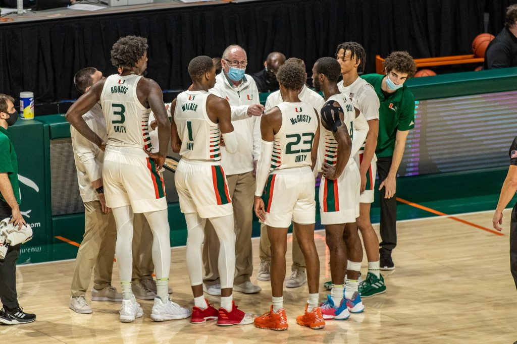 Head coach Jim Larrañaga speaks to players during a timeout against Wake Forest on Jan. 30 2021.