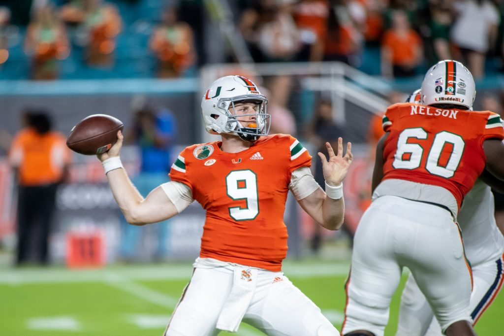 Freshman quarterback Tyler Van Dyke completed 15 of 29 pass attempts for one 203 yards and one touchdown in Miami's 30-28 loss to Virginia on Sept. 30, 2021 at Hard Rock Stadium.