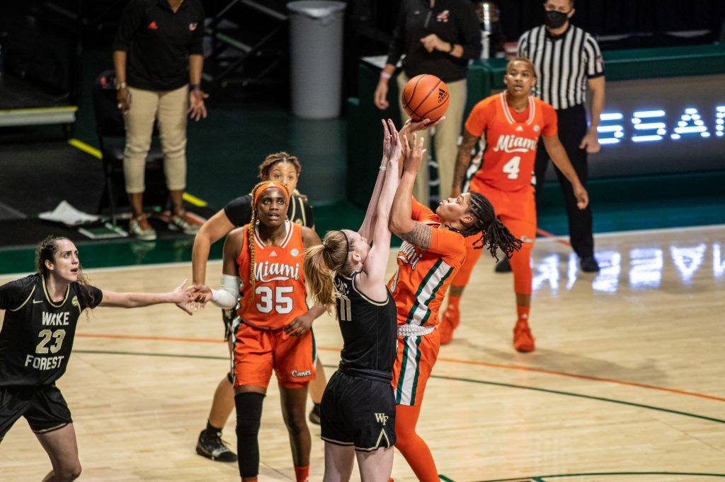 Redshirt junior Destiny Harden takes a shot near the free throw line in Miami's win over Wake Forest on Feb. 25 2021 a the Watsco Center in Coral Gables.